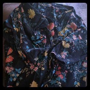 Vintage black floral Emanuel Ungaro silk blouse S